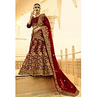 Heavy maroon phantom silk embroidered bridal lehenga
