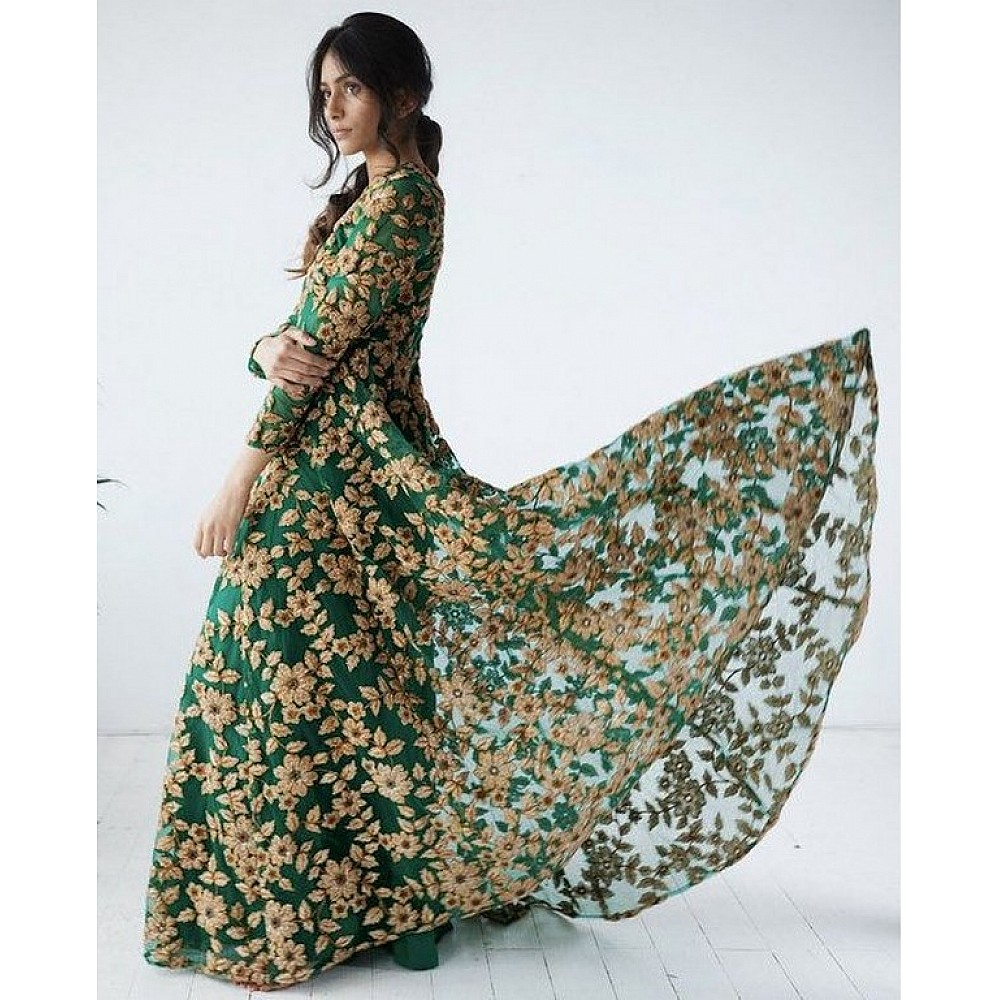 Green net Heavy embroidered bridal gown
