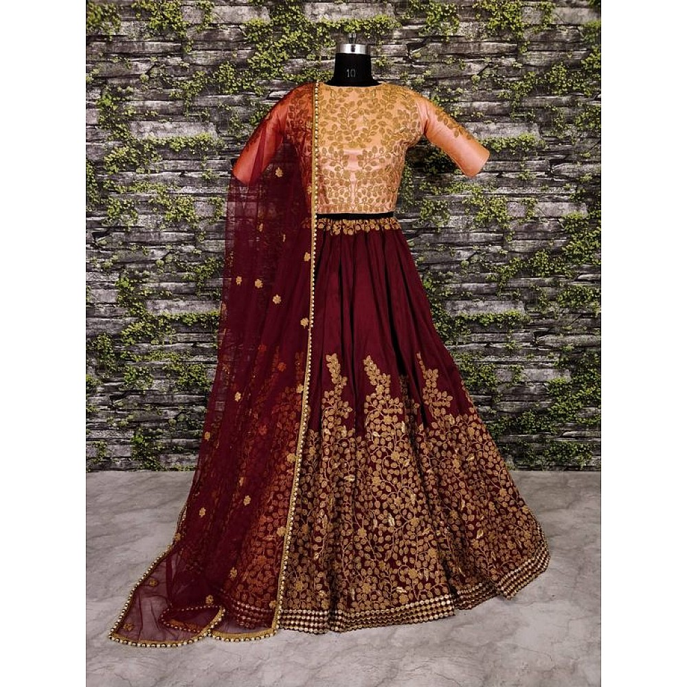 Designer maroon pure silk heavy embroidered bridal lehenga