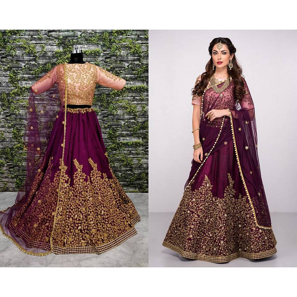 Designer purple pure silk heavy embroidered bridal lehenga