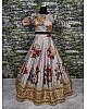 Designer heavy flowerprint bridal grey wedding lehenga
