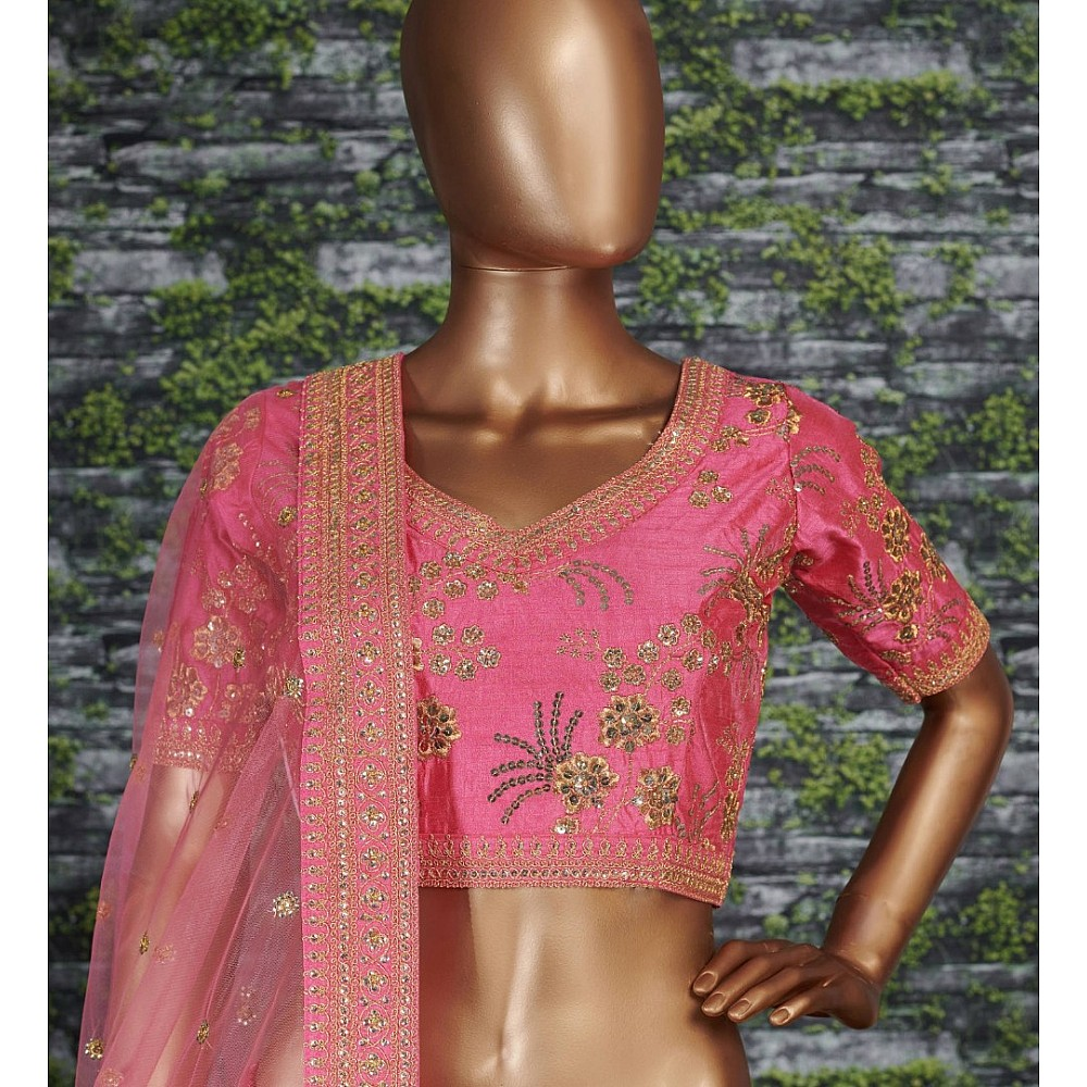 Baby pink thai silk heavy zari and sequence worked designer bridal lehenga choli