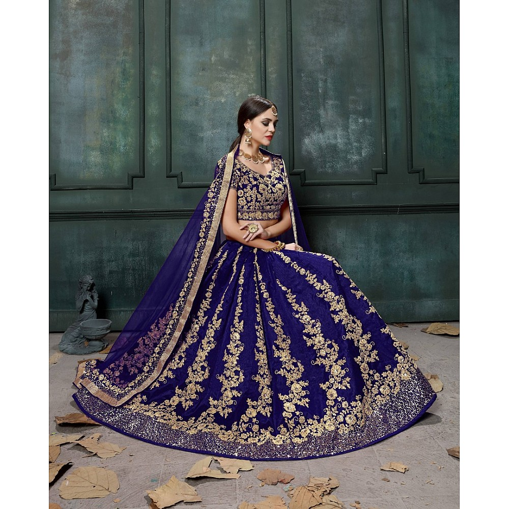 Blue raw silk heavy dori and sequence work wedding lehenga