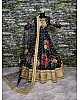 Designer heavy flowerprint bridal black wedding lehenga