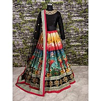 Gorgeous printed multicolor hand work bridal lehenga