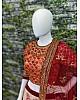 Red chennai silk beautiful printed stone and embroidered designer ceremonial lehenga