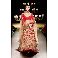 aliya bhatt queen beauty red craft lehenga