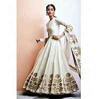 Angel white embroidered wedding anarkali suit