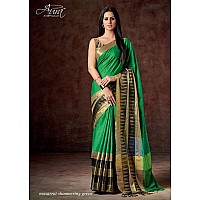 Aura Cotton silk green saree