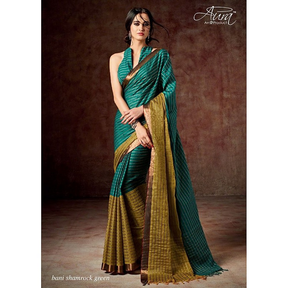 Aura Cotton silk sky green saree