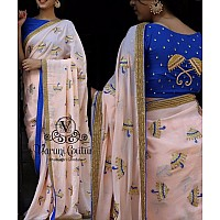 baby pink Georgette embroidered festival wear saree