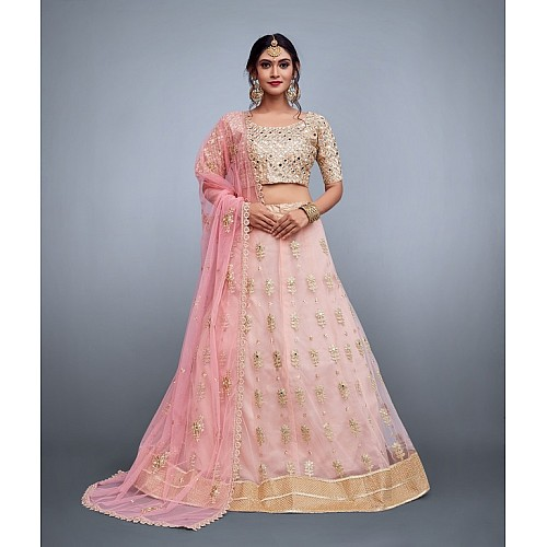 Baby pink soft net embroidered ceremonial lehenga