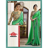 Beautiful designer embroidered green saree