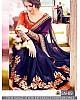 Beautiful embroidered blue wedding saree