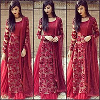 Beautiful embroidered Maroon Party wear lehenga
