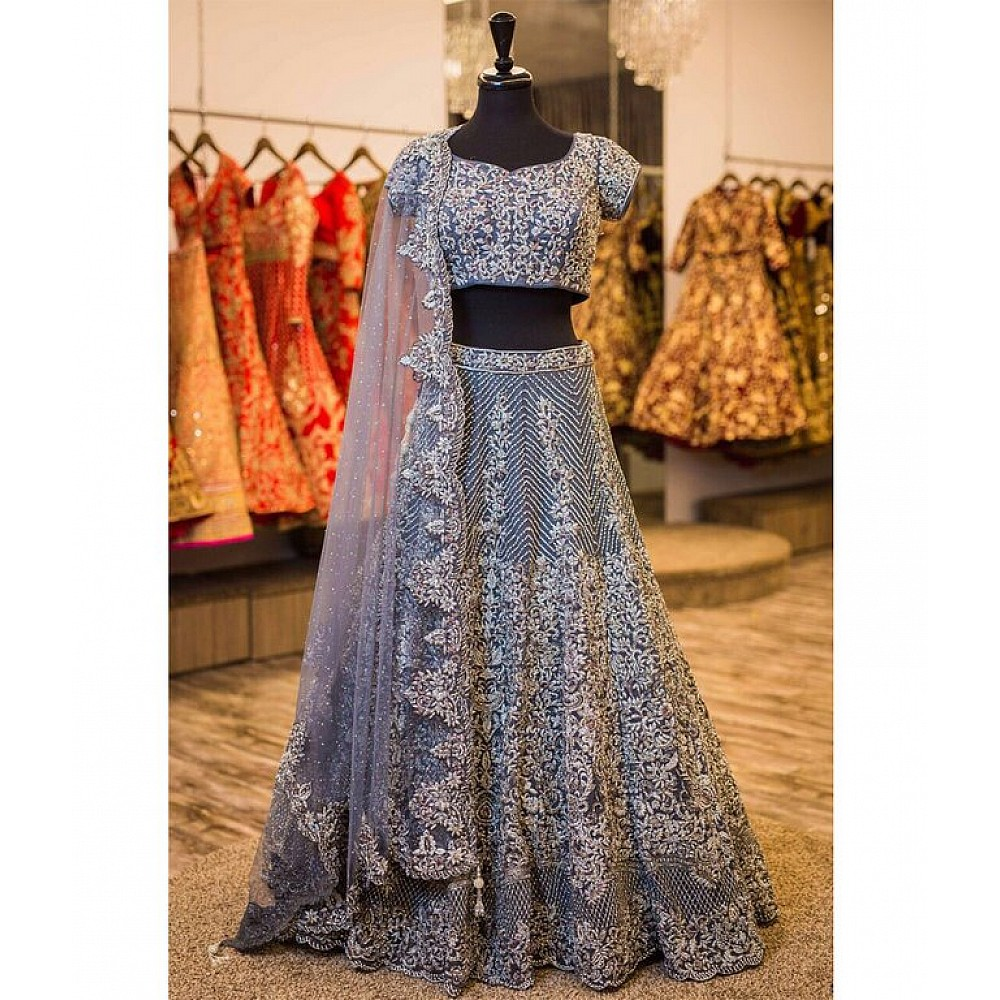 Beautiful Grey heavy embroidered Bridal lehenga