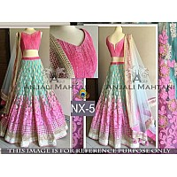 beautiful look pink and rama thread work lehenga