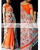 Beautiful multicolor thread work designer orange saree