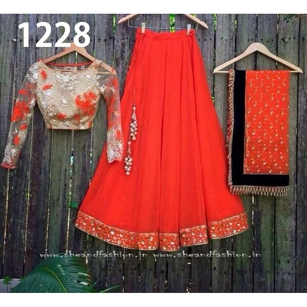 Beautiful Orange Plain Ceremonial lehenga