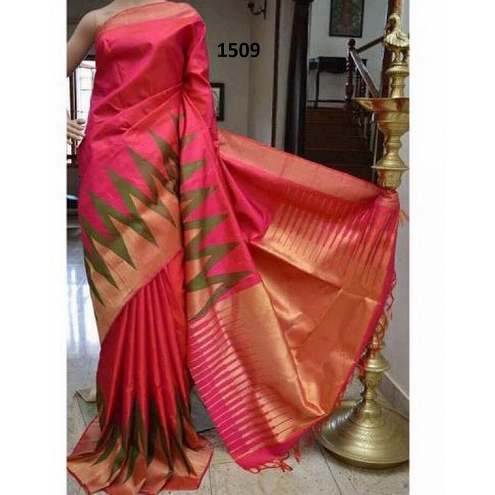 Beautiful Pink Printed Ceremonial Saree