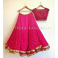 Beautiful Rani Pink embroidered Wedding lehenga choli