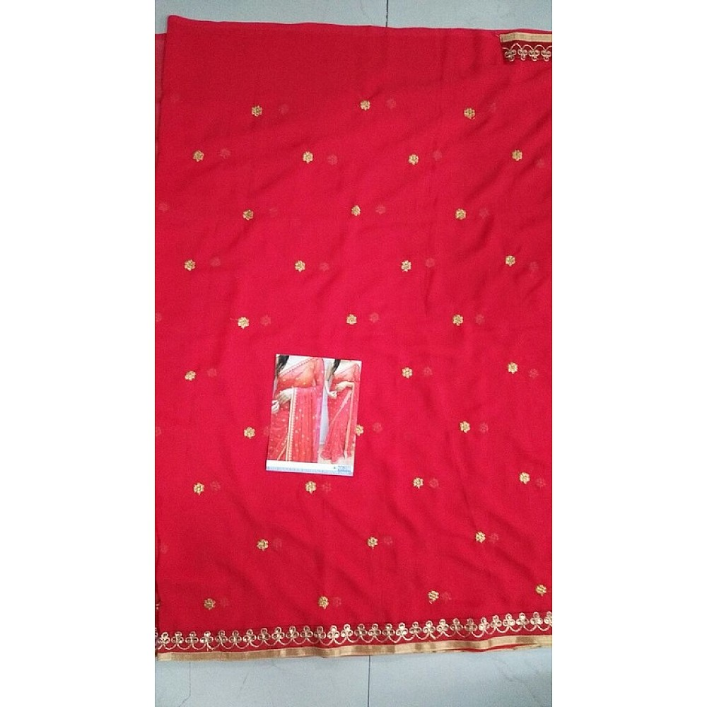 Beautiful Red embroidered Ceremonial Saree