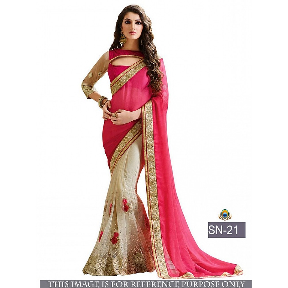 Beautiful stylist pink embroidered saree
