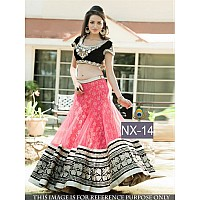 beautiful trendy pink embroidered net lehenga choli