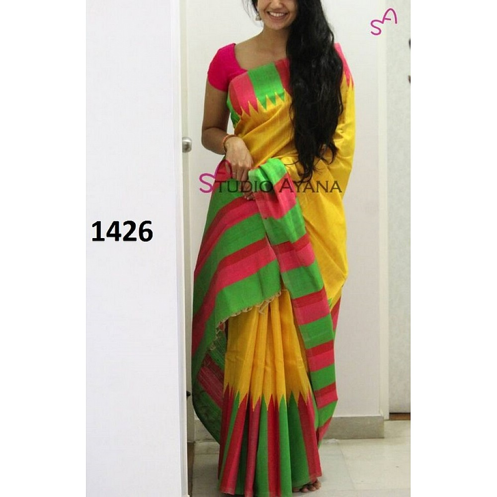 Beautiful Yellow Printed Festival Saree