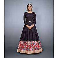 Black art silk embroidered partywear gown