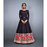 Black art silk embroidered partywear gown