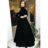 Black tapeta silk embroidered partywear gown