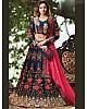 Blue banglori satin silk heavy embroidered wedding lehenga