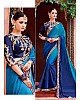 Blue chinon georgette embroidered wedding saree