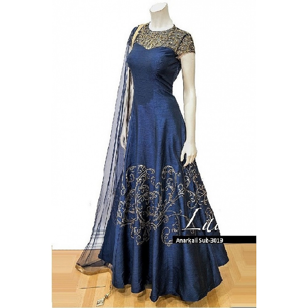 Blue phantom silk handworked wedding anarkali suit