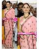 Bollywood style fancy threadwork peach ceremonial saree