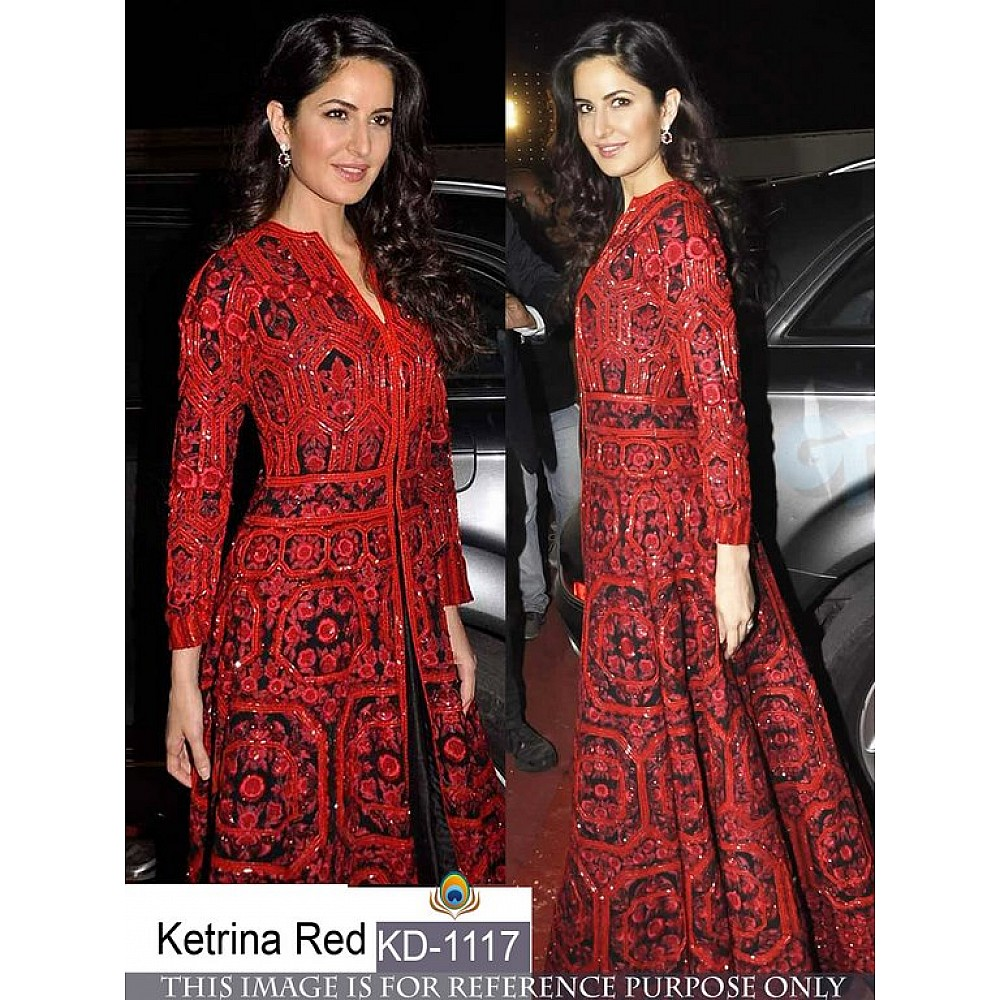 bollywood style heavy red gown