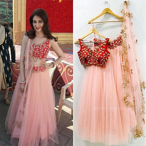 Bollywood style peach embroidered lehenga
