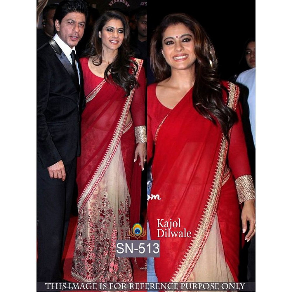bollywood style red and white stylist saree