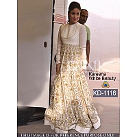 bollywood style stylist embroidered white gown