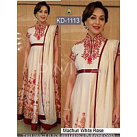 bollywood style white rose anarkali suit