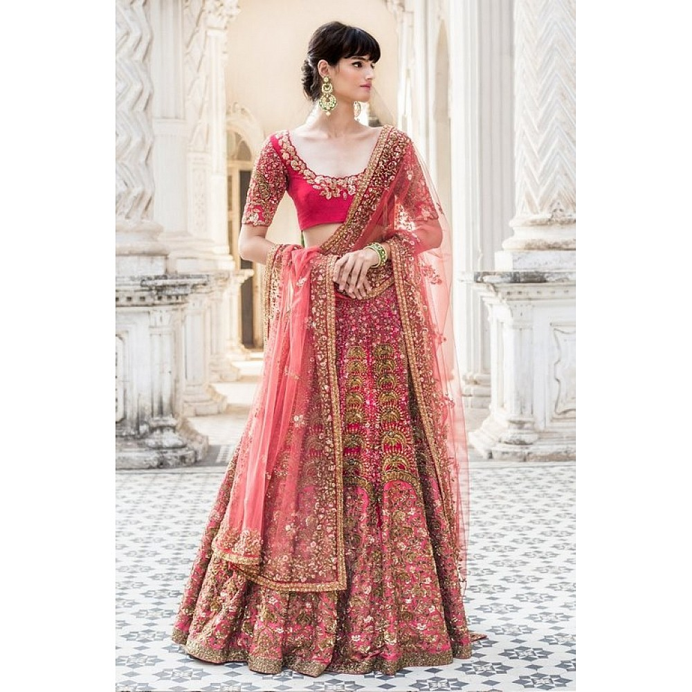 Bridal wear heavy embroidered pink wedding lehenga