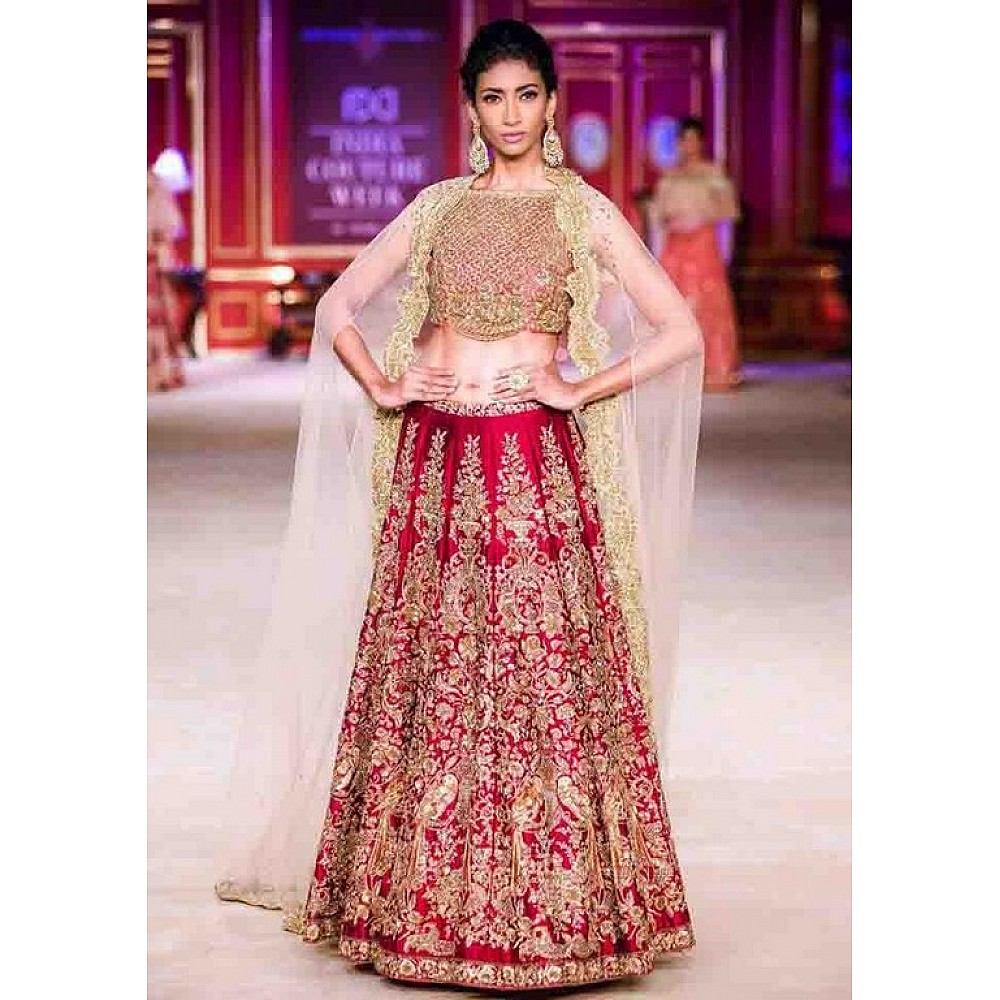 Cherry red malai satin heavy embroidered wedding lehenga