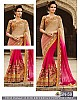 cream and pink spray georgette embroidered wedding saree