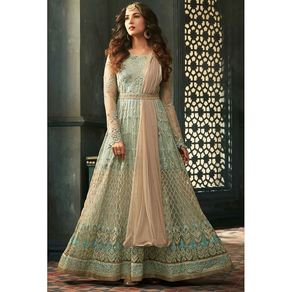 Cyan Colored Net Heavy Embroidered Semi Stitched anarkali Suit