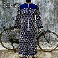 designer blue embroidered ceremonial Kurti