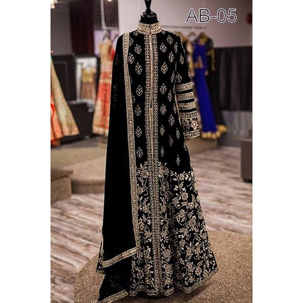 Designer embroidered black wedding suit