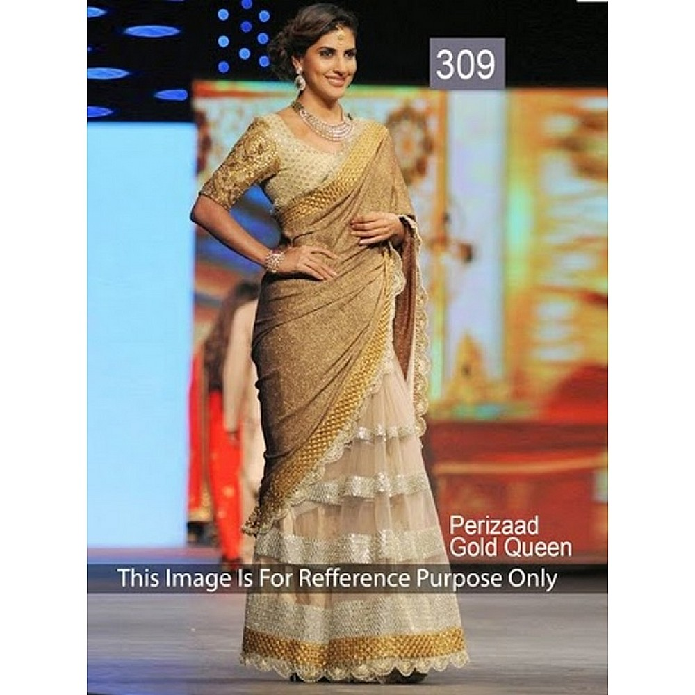 Designer embroidered gold saree