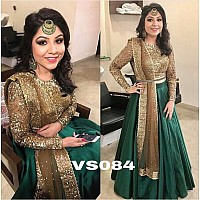 Designer embroidered green wedding lehenga