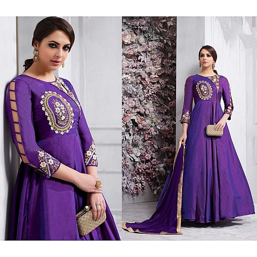 Designer embroidered purple partywear anarkali suit